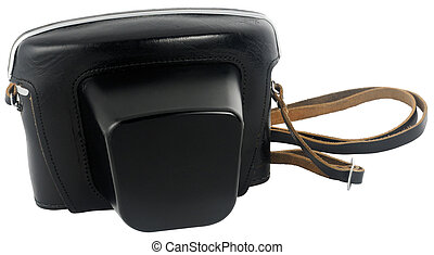 Old film camera leather case