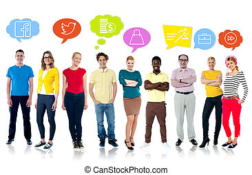 Diversified people with graphic modern icons - Multiethnic...