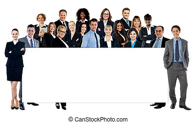 Diverse business people holding a banner - Group of business...