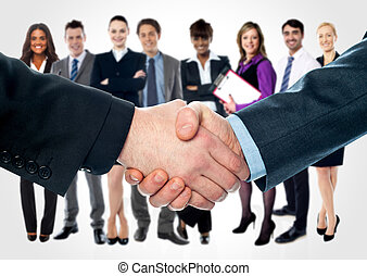 Business people shaking hands - Closeup of shaking hands and...