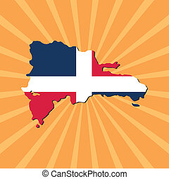 Dominican Republic map flag on sunburst illustration