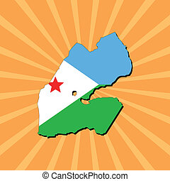 Djibouti map flag on sunburst illustration