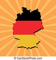 Germany map flag on sunburst
