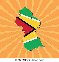 Guyana map flag on sunburst