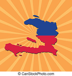 Haiti map flag on sunburst