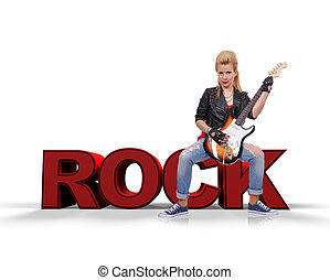 rocker girl sitting on rock text and playing on electric...