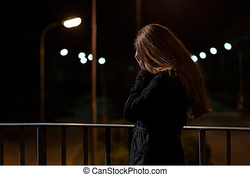Feeling depression on a bridge - View of feeling depression...