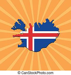 Iceland map flag on sunburst