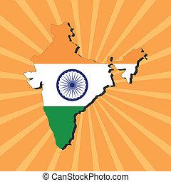 India map flag on sunburst