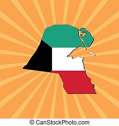Kuwait map flag on sunburst