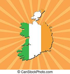 Ireland map flag on sunburst