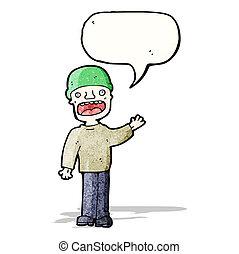 man talking loudly