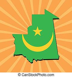 Mauritania map flag on sunburst