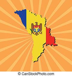 Moldova map flag on sunburst