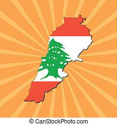 Lebanon map flag on sunburst