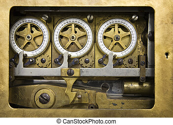 Combination lock detail - Inside view of an antique...