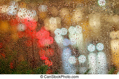 Raindrop - Bokeh Street Lights At Night While Raining