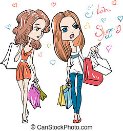 Vector fashion cute girls - Cute fashion girls with shopping...