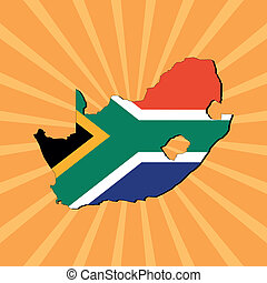 South Africa map flag on sunburst