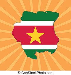 Suriname map flag on sunburst