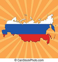 Russia map flag on sunburst