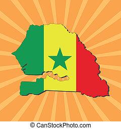 Senegal map flag on sunburst