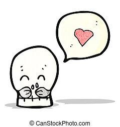 cartoon skull with love heart