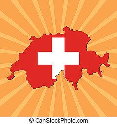 Switzerland map flag on sunburst