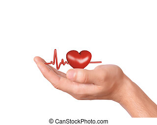hand holding red heart healthcare and medicine concept -...