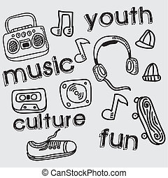 youth culture design - youth culture graphic design , vector...