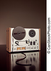 Analog Stereo Open Reel Tape Deck Recorder Vintage Closeup -...