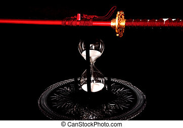 Sword and Hour glass - Sword and hour glass isolated over...