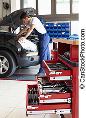 mechanic working on car engine. Focus on foreground