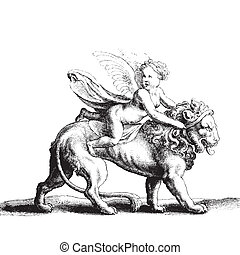 Cupid on a lion - Ancient style engraving with Cupid on a...