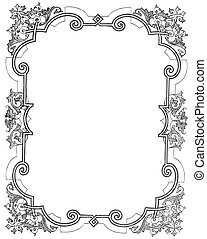 Floral frame - Ancient style engraving of a vintage frame...