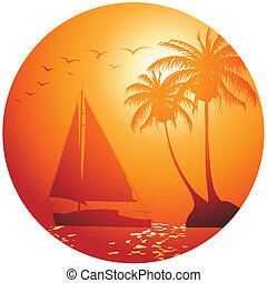 Yacht on the ocean - summer holiday background