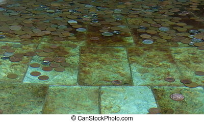 Coins in the clear water - Copper and nickel coins at the...