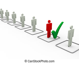 3d selected man from list - 3d illustration of chosen person...