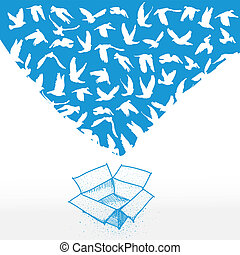 Doodle box, Sketch Flying dove for peace concept and wedding design. white on a blue background. Vector