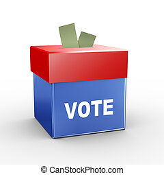 3d collection box - vote - 3d illustration of collection box...