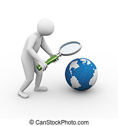 3d man magnifier globe searching