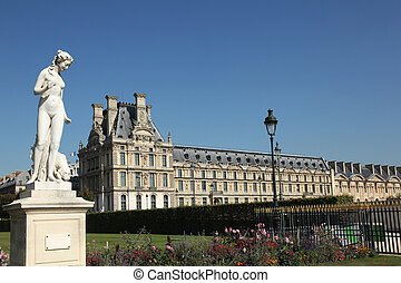 Louvre Paris - view at the Louvre from the Tuileries Garden...