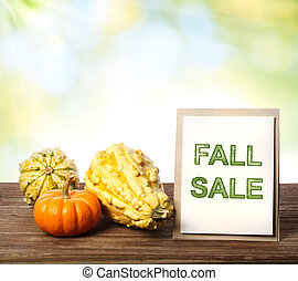 Fall Sale sign with pumpkins