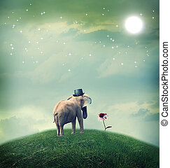 Elephant contemplating a flower - Surrealistic elephant with...
