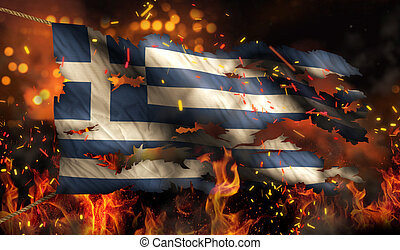 Greece Burning Fire Flag War Conflict Night 3D