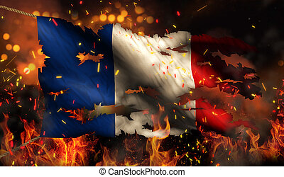 France Burning Fire Flag War Conflict Night 3D