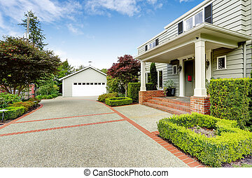 Luxury real estate in Tacoma, WA Entrance porch with brick...