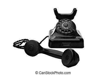 black rotary telephone - old vintage black rotary telephone...