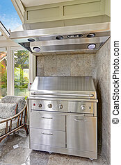Steel barbecue with hood - Steel new barbecue with hood Grey...