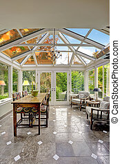 Sunroom patio area with transparent vaulted ceiling, Dining...